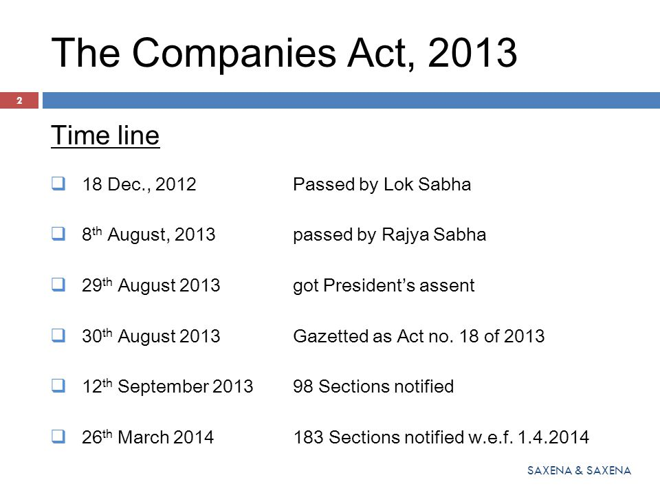 The Companies Act, 2013 Time line 18 Dec., 2012 Passed by Lok Sabha