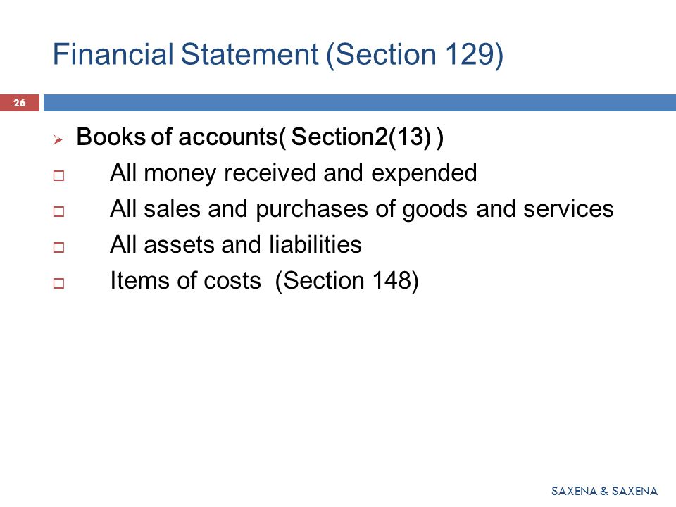 Financial Statement (Section 129)