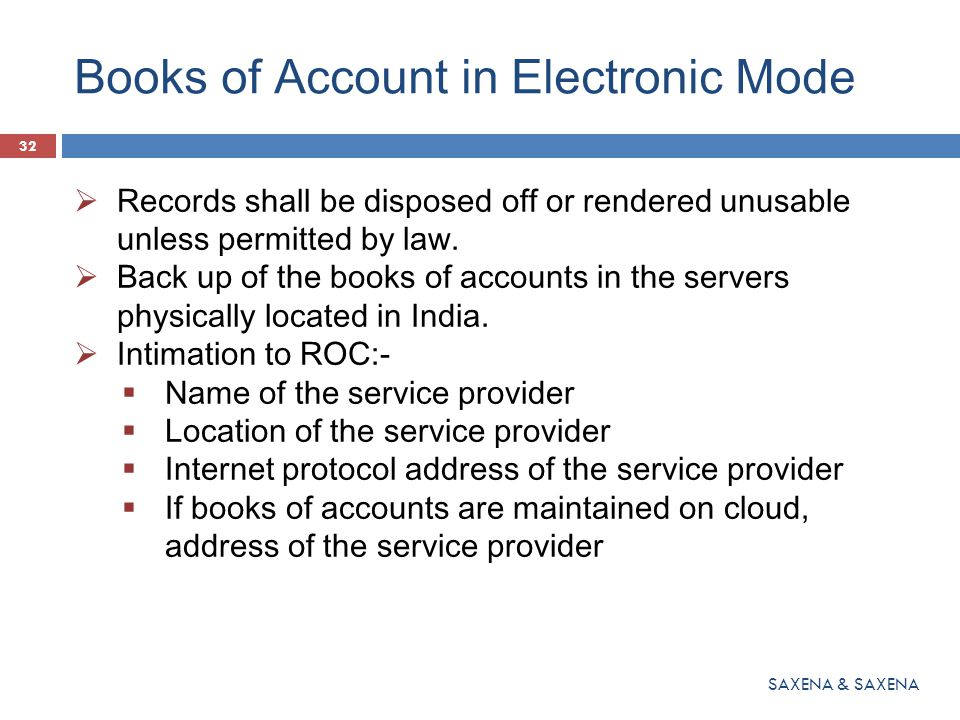 Books of Account in Electronic Mode