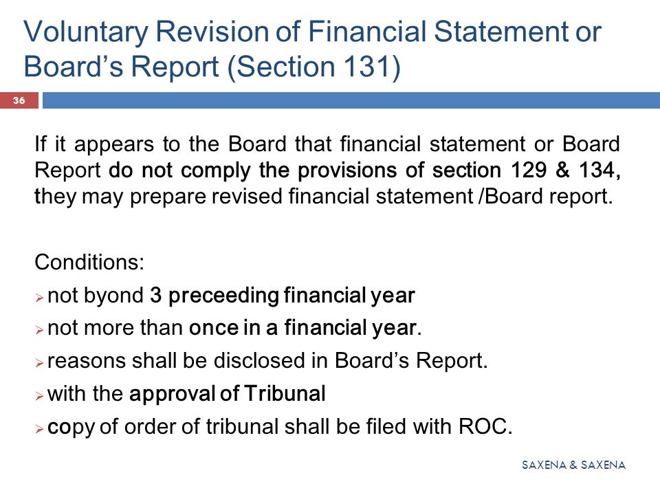 Voluntary Revision of Financial Statement or Board's Report (Section 131)