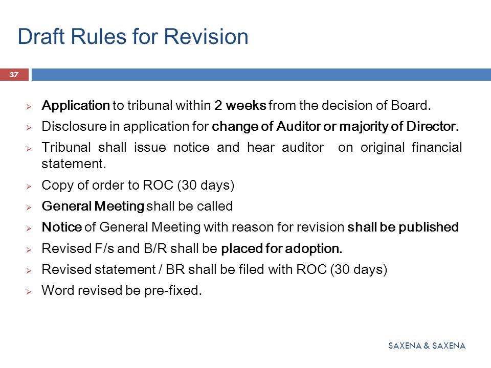 Draft Rules for Revision