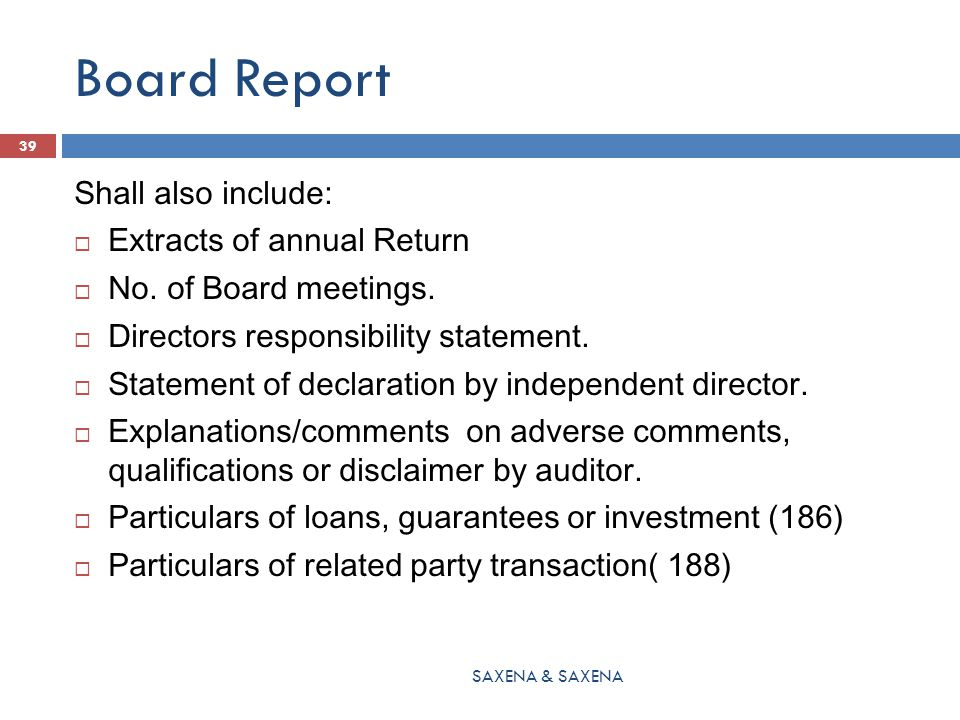 Board Report Shall also include: Extracts of annual Return