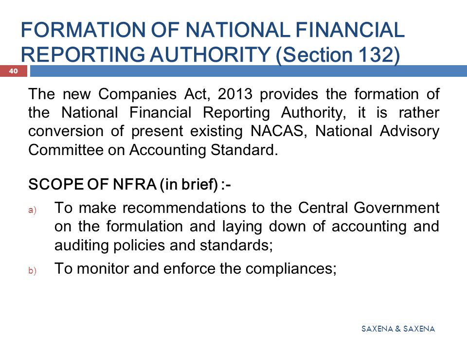 FORMATION OF NATIONAL FINANCIAL REPORTING AUTHORITY (Section 132)
