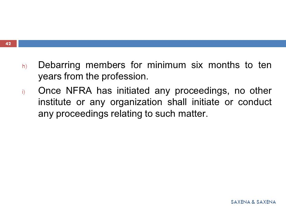Debarring members for minimum six months to ten years from the profession.