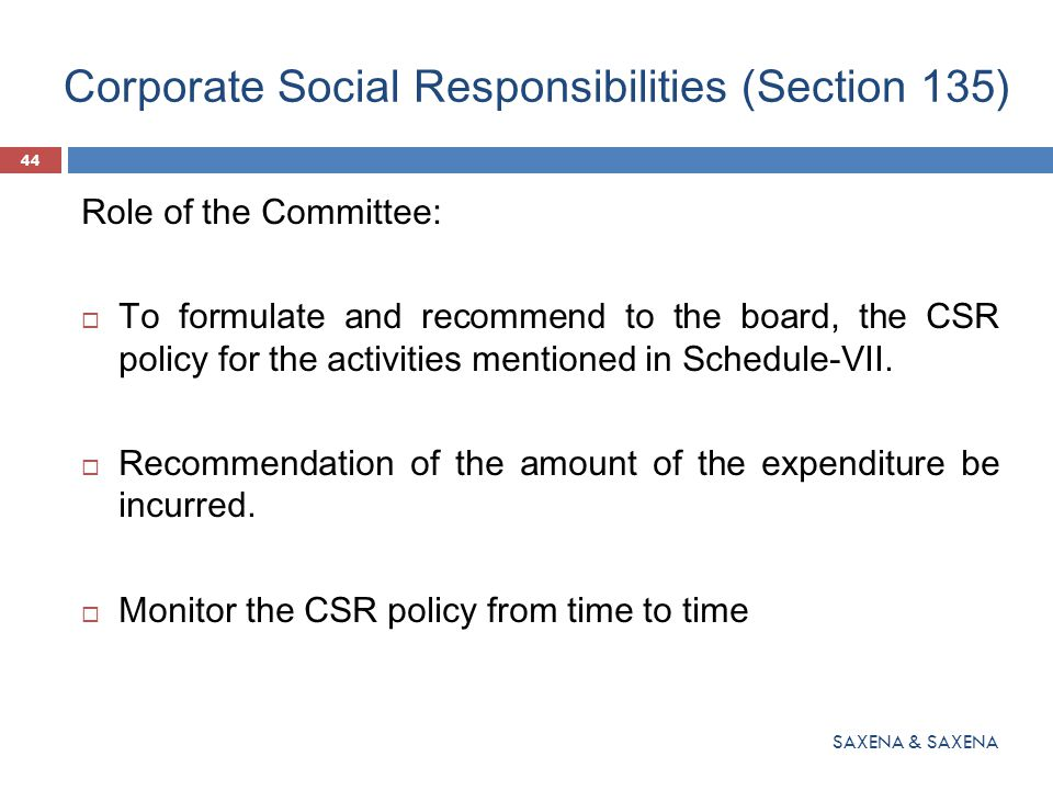 Corporate Social Responsibilities (Section 135)