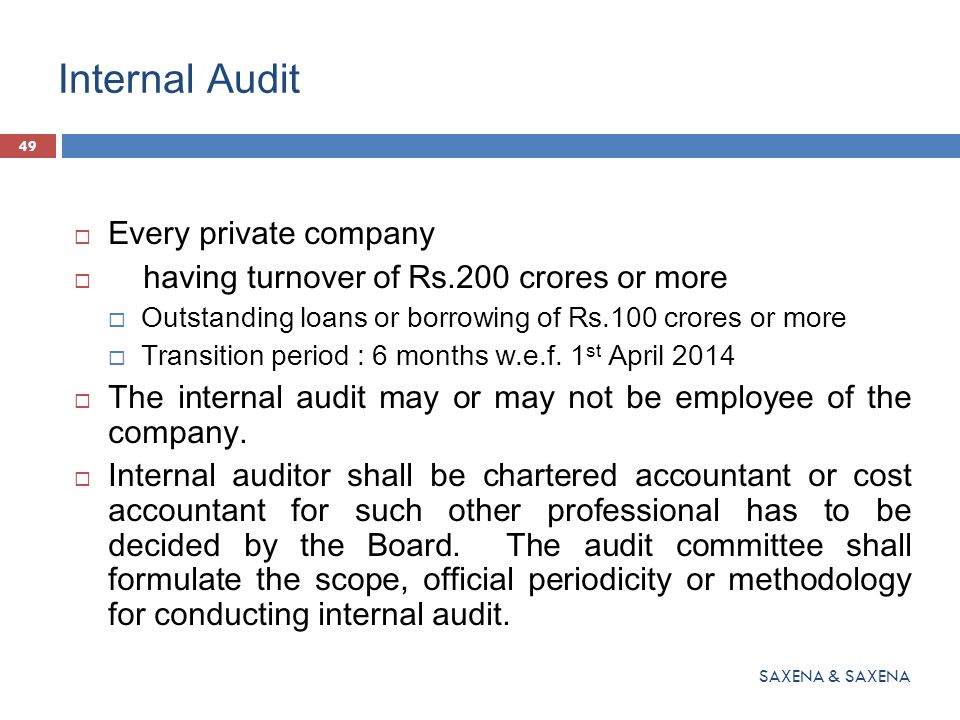 Internal Audit Every private company