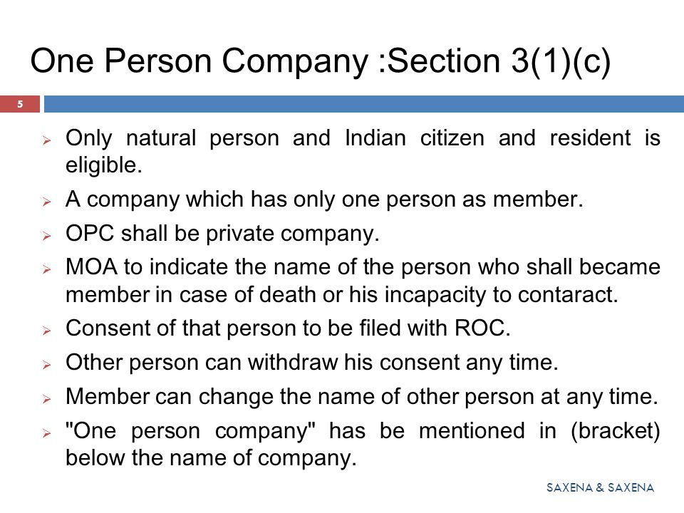 One Person Company :Section 3(1)(c)