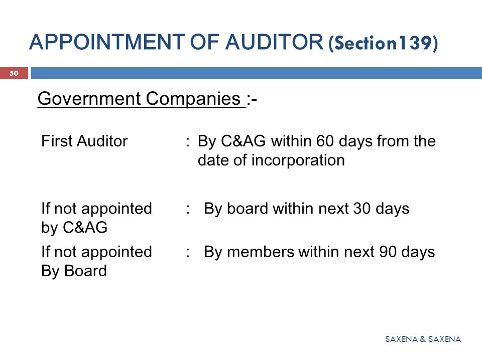 APPOINTMENT OF AUDITOR (Section139)