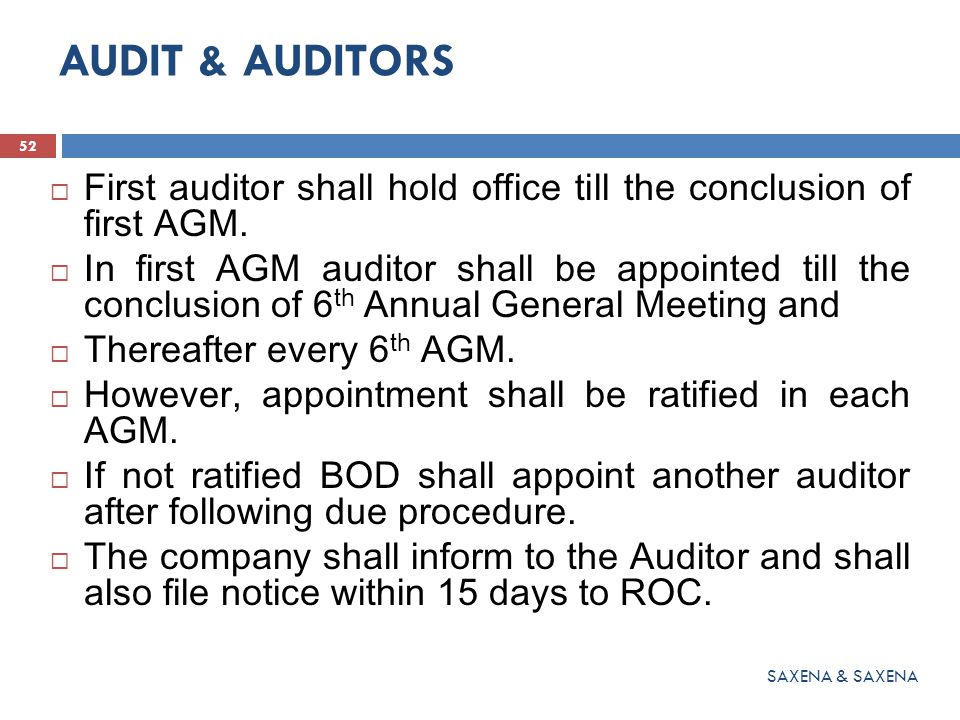 AUDIT & AUDITORS First auditor shall hold office till the conclusion of first AGM.