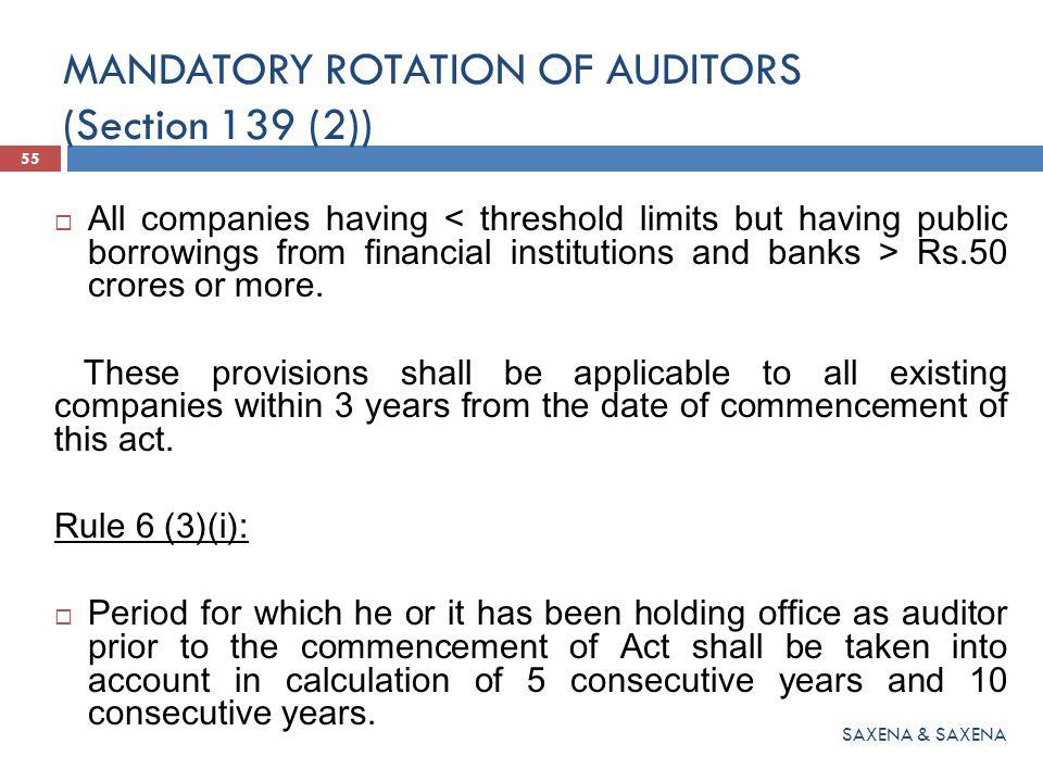 MANDATORY ROTATION OF AUDITORS (Section 139 (2))
