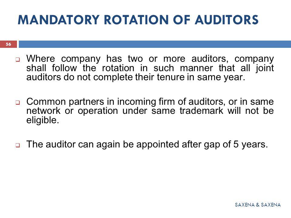 MANDATORY ROTATION OF AUDITORS