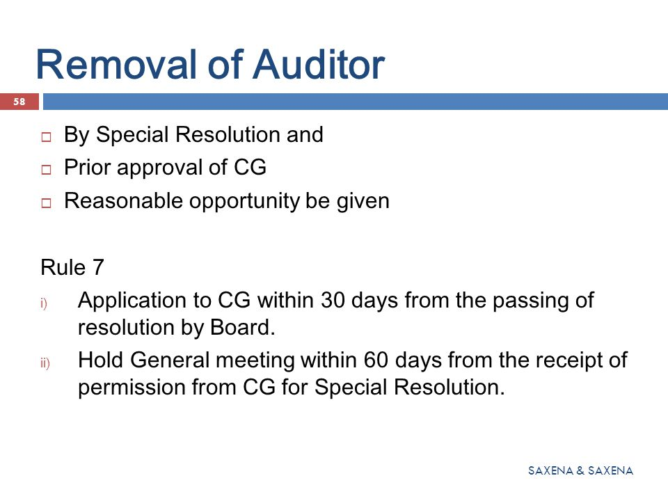 Removal of Auditor By Special Resolution and Prior approval of CG