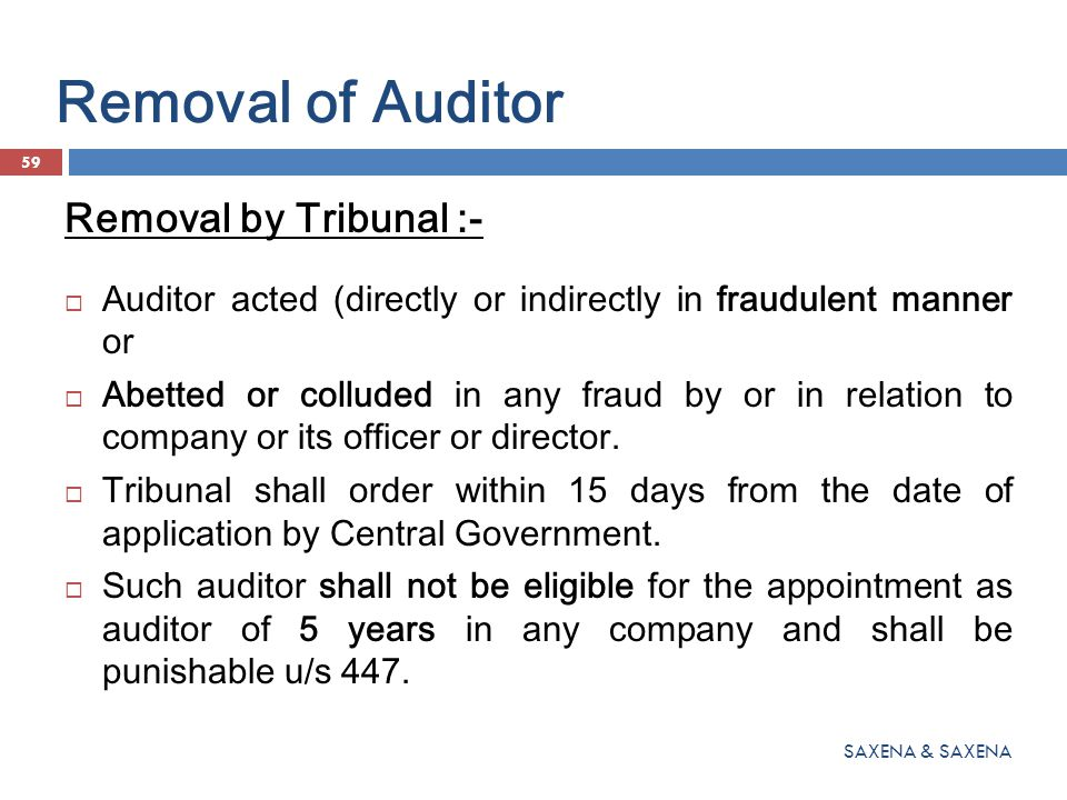 Removal of Auditor Removal by Tribunal :-