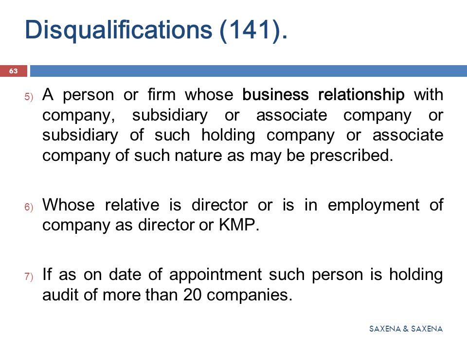 Disqualifications (141).