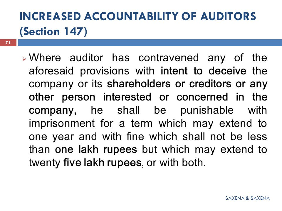 INCREASED ACCOUNTABILITY OF AUDITORS (Section 147)