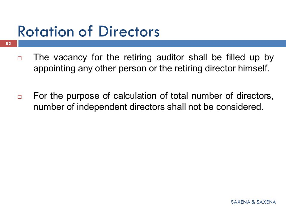 Rotation of Directors The vacancy for the retiring auditor shall be filled up by appointing any other person or the retiring director himself.