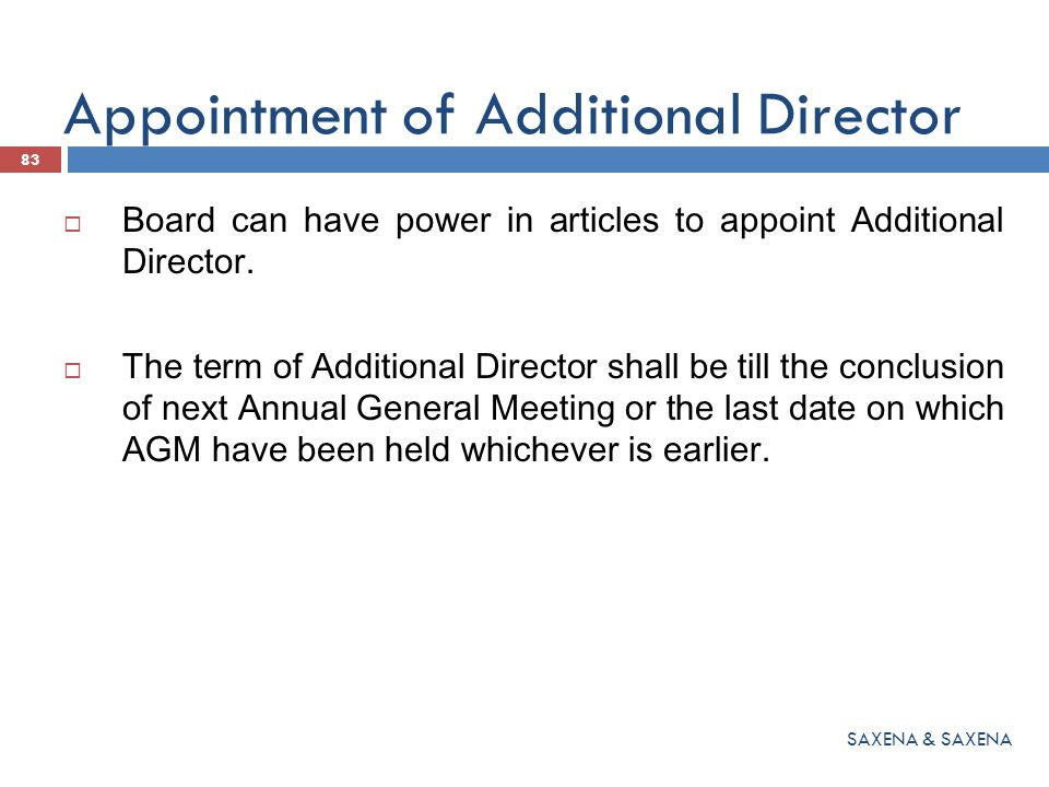 Appointment of Additional Director