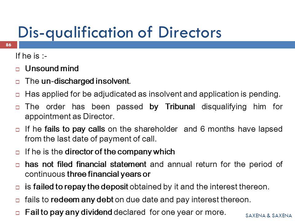 Dis-qualification of Directors
