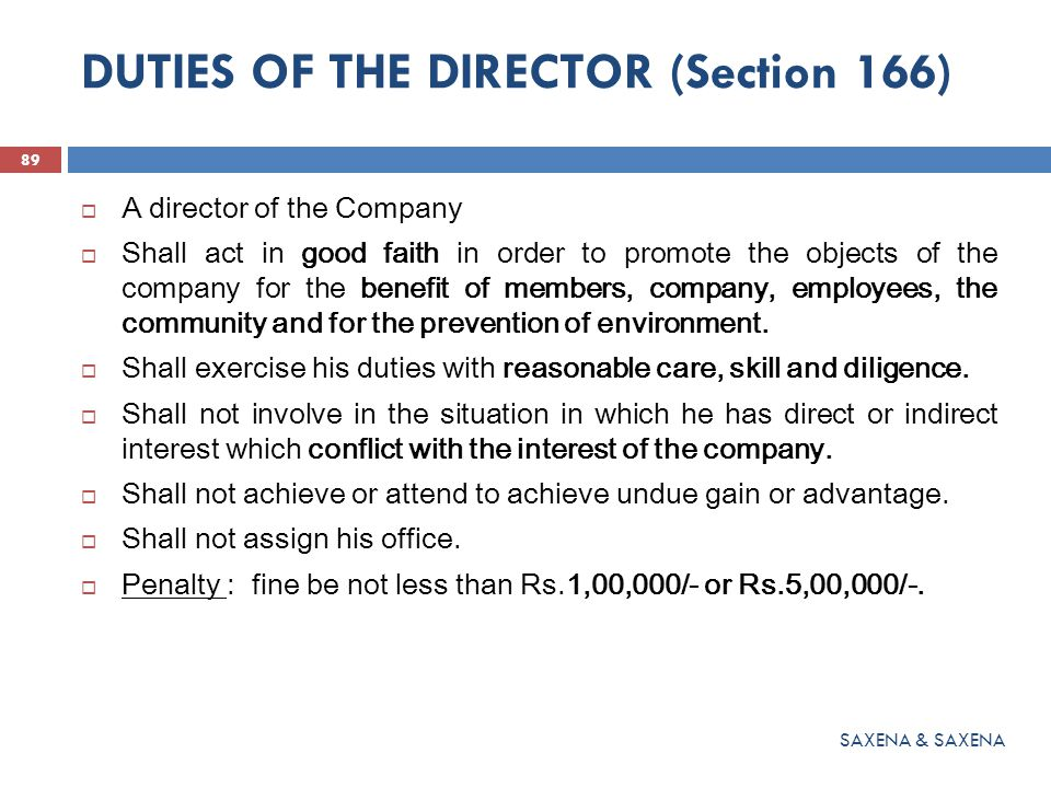 DUTIES OF THE DIRECTOR (Section 166)