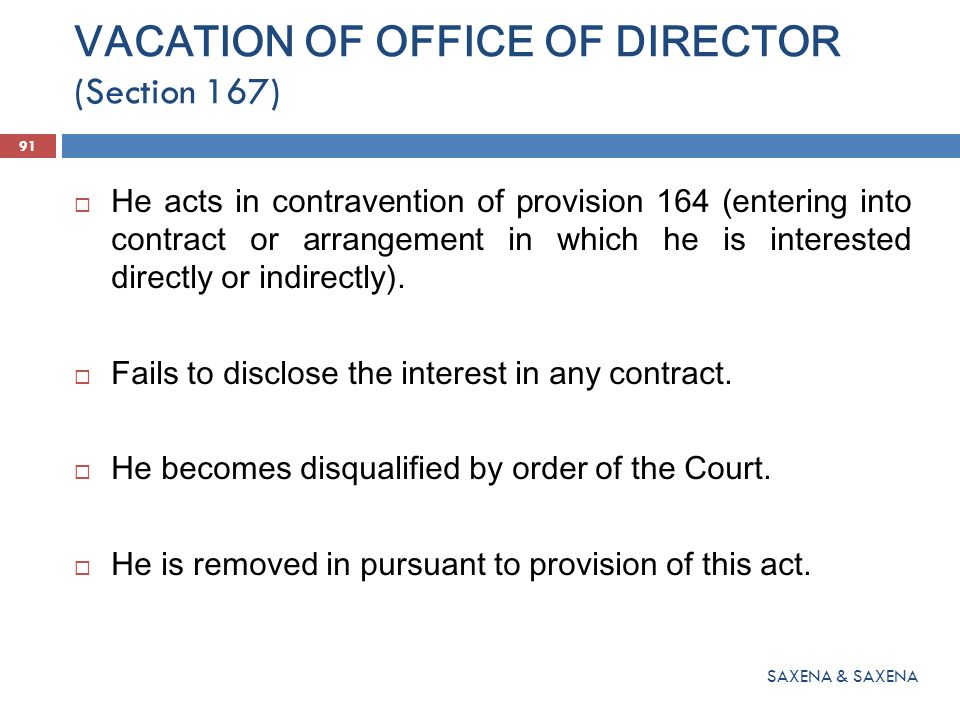 VACATION OF OFFICE OF DIRECTOR (Section 167)