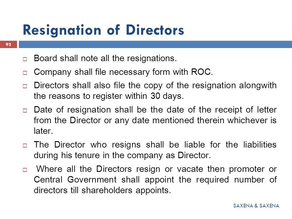 Resignation of Directors