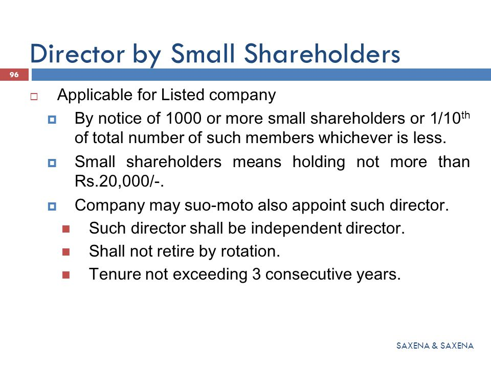 Director by Small Shareholders