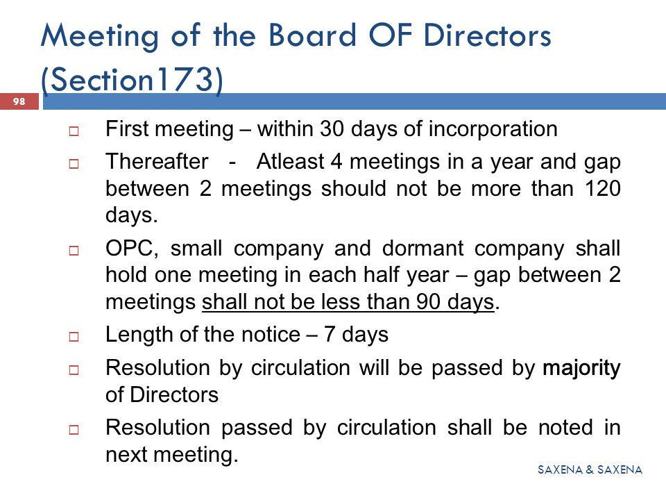 Meeting of the Board OF Directors (Section173)