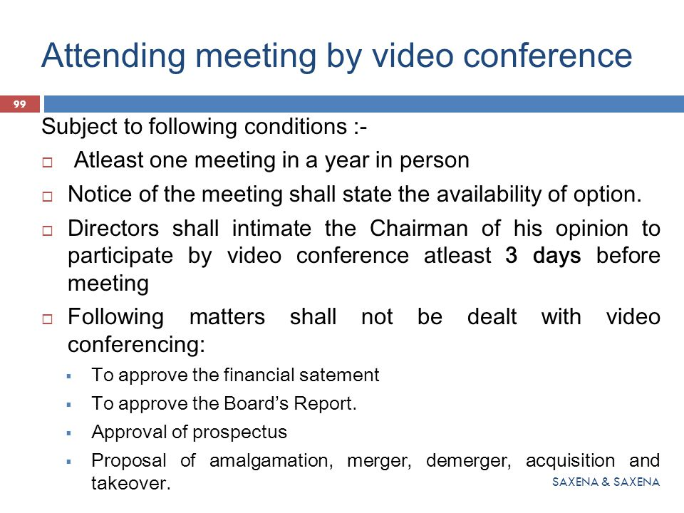 Attending meeting by video conference