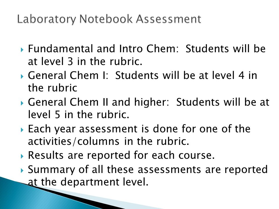 Laboratory Notebook Assessment