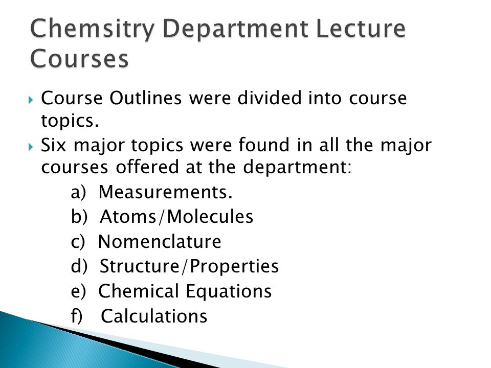 Chemsitry Department Lecture Courses