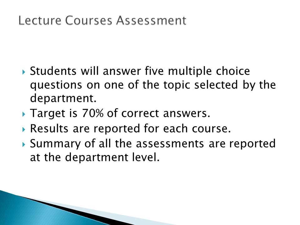 Lecture Courses Assessment