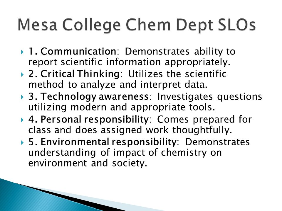Mesa College Chem Dept SLOs