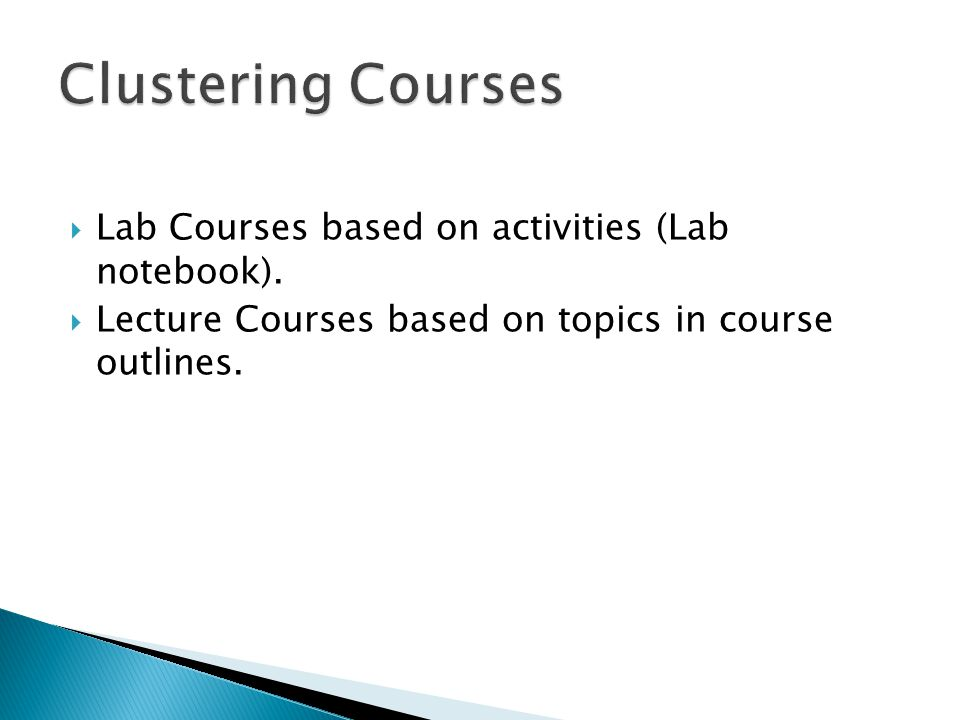 Clustering Courses Lab Courses based on activities (Lab notebook).