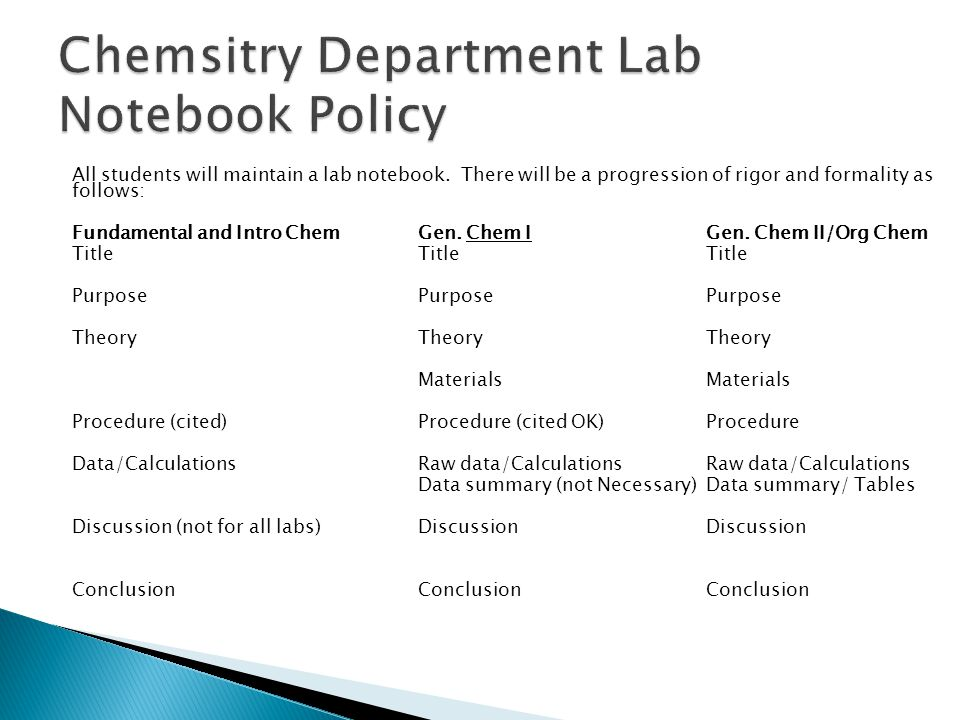 Chemsitry Department Lab Notebook Policy