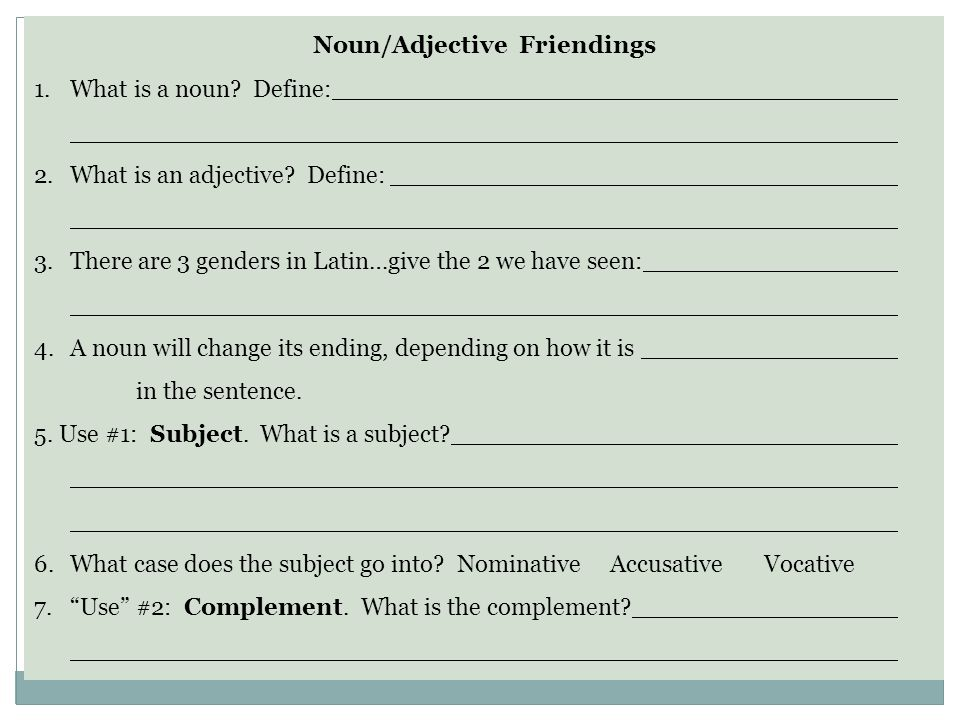 Noun/Adjective Friendings