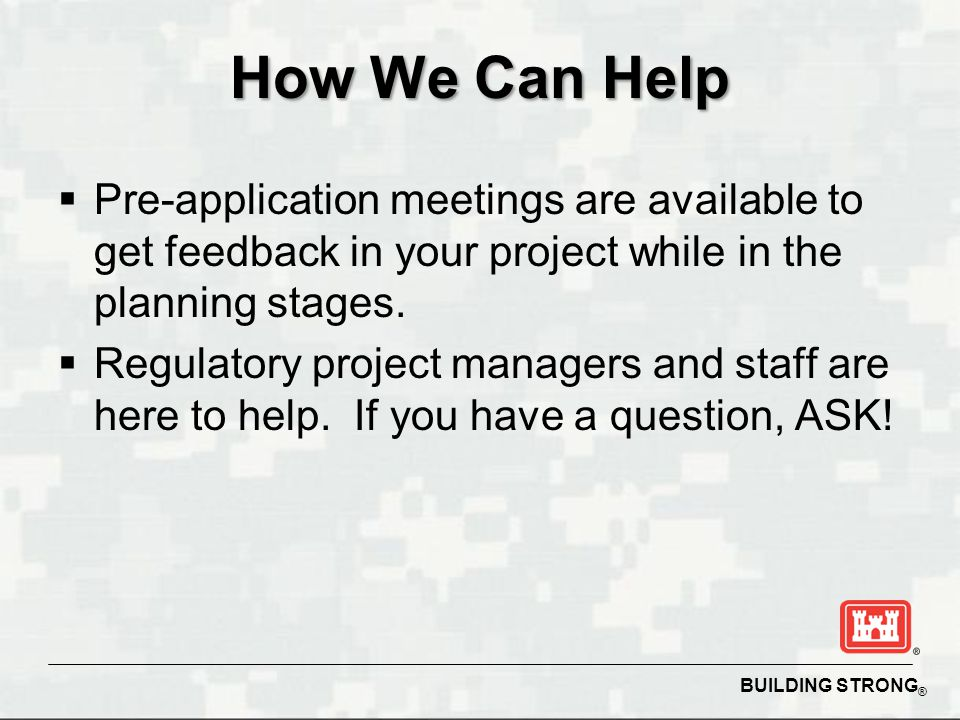 How We Can Help Pre-application meetings are available to get feedback in your project while in the planning stages.