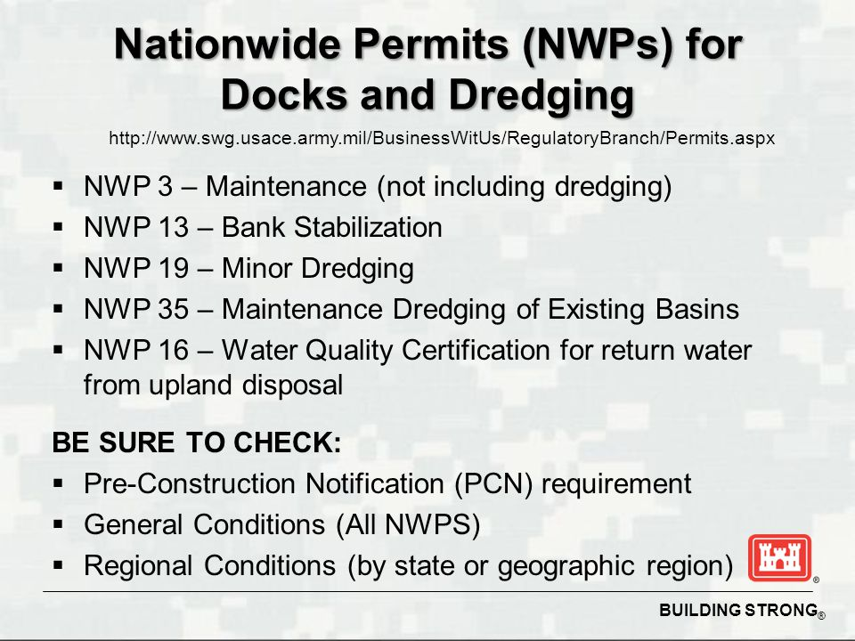 Nationwide Permits (NWPs) for Docks and Dredging