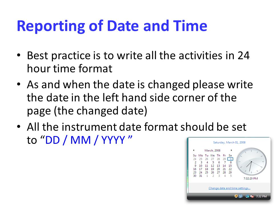 Reporting of Date and Time