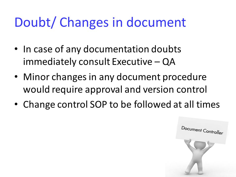 Doubt/ Changes in document