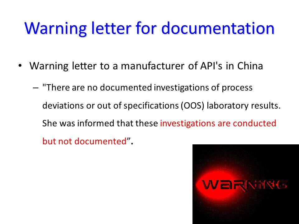 Warning letter for documentation