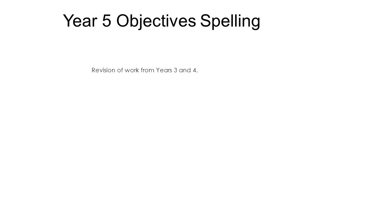 Year 5 Objectives Spelling