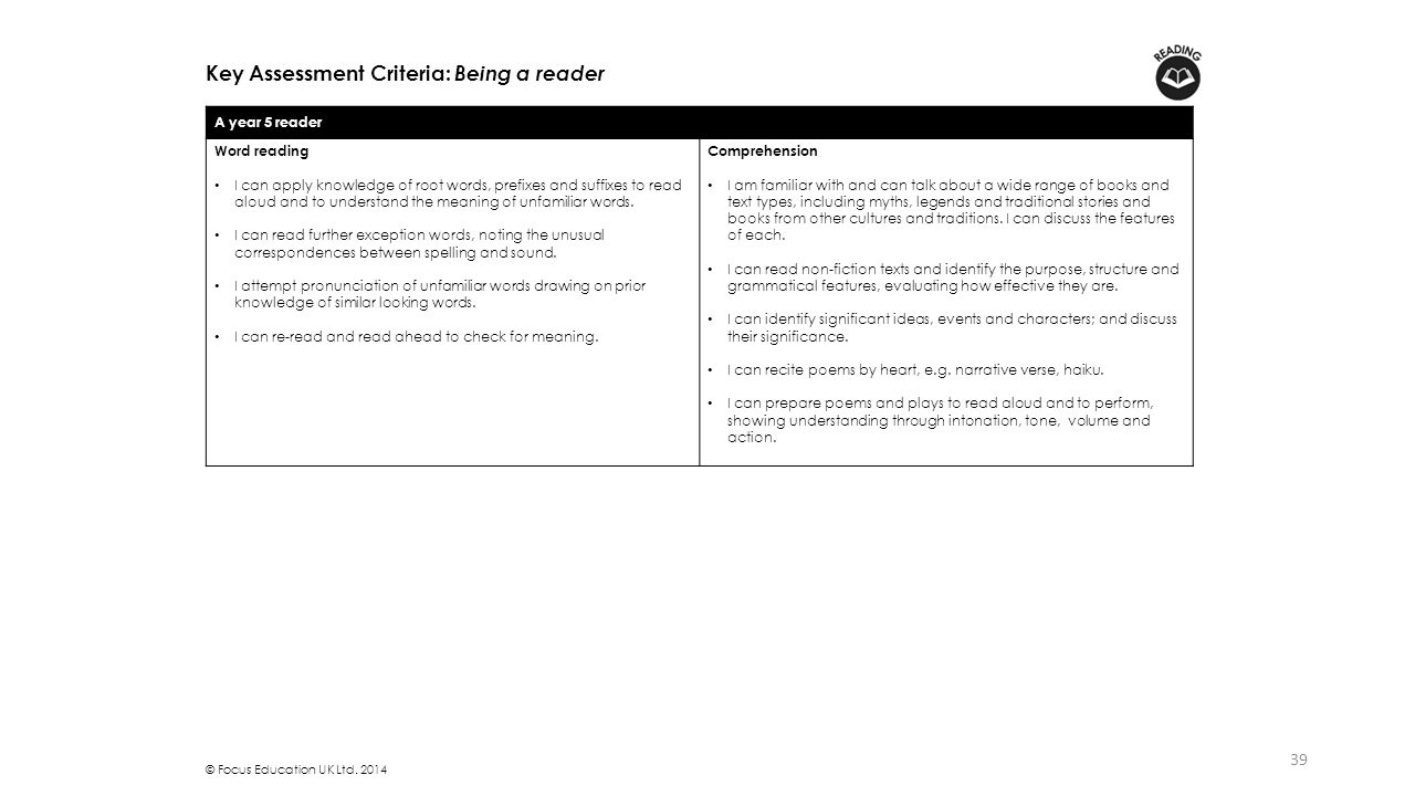 Key Assessment Criteria: Being a reader