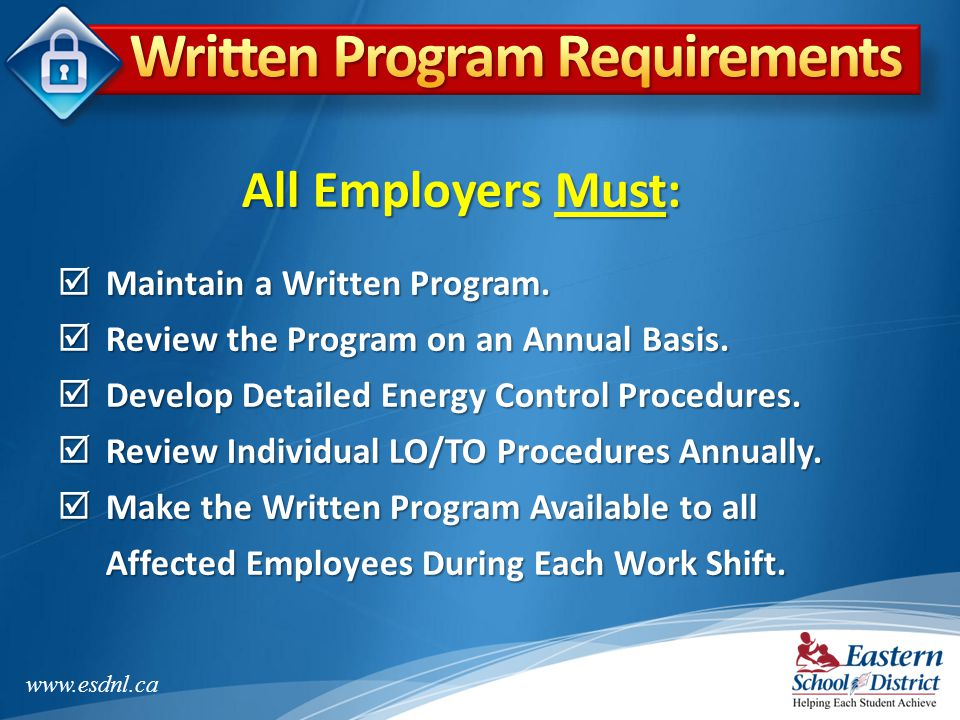 Written Program Requirements