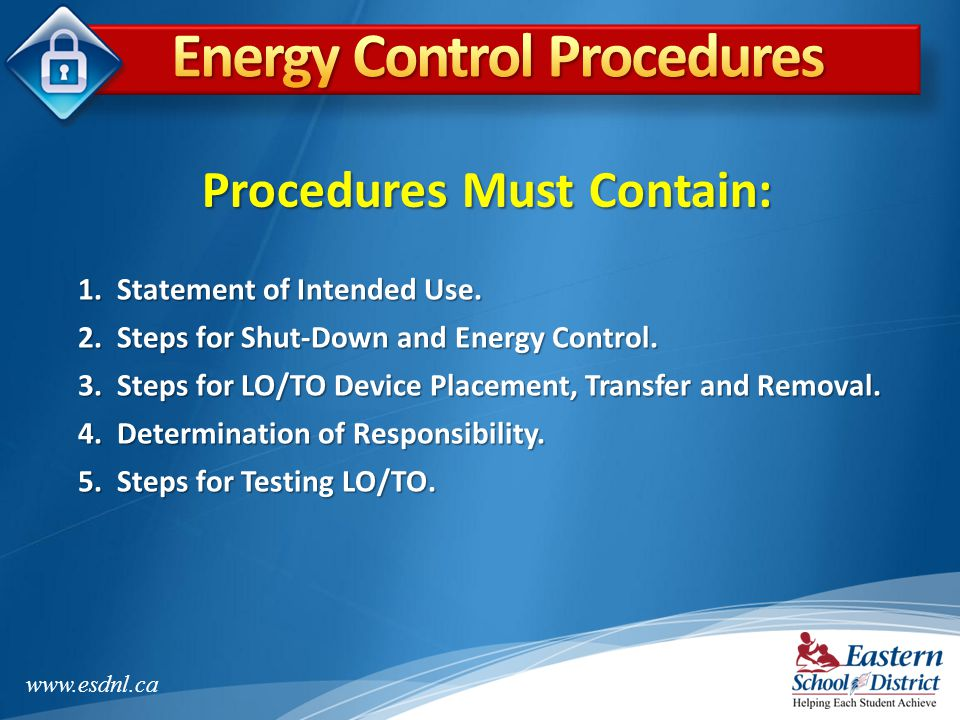 Energy Control Procedures