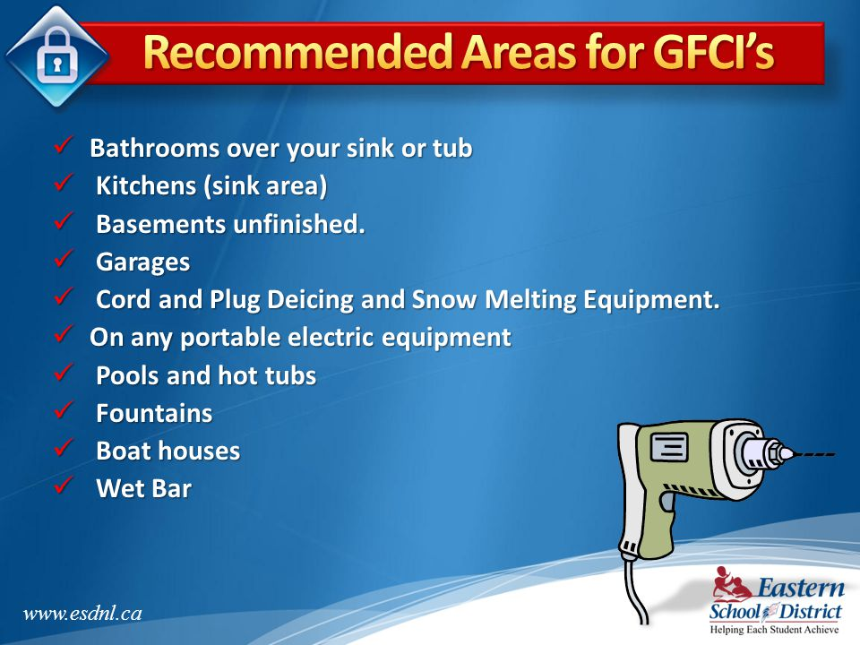 Recommended Areas for GFCI's