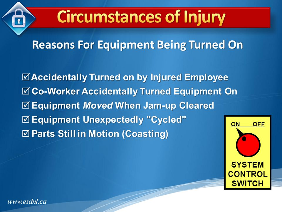 Circumstances of Injury Reasons For Equipment Being Turned On
