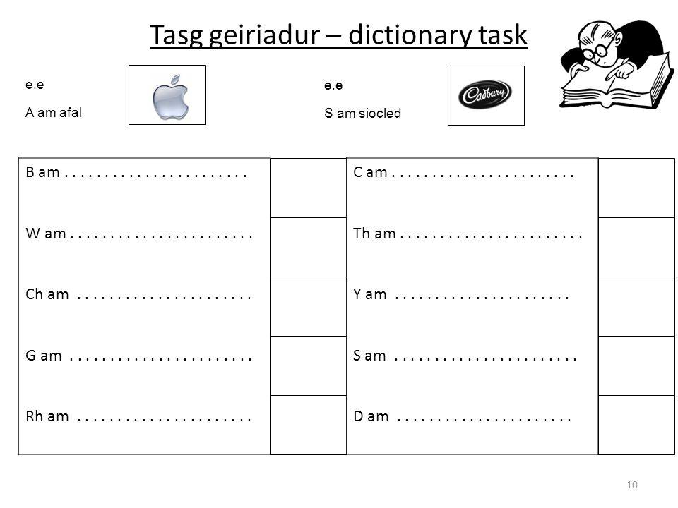 Tasg geiriadur – dictionary task