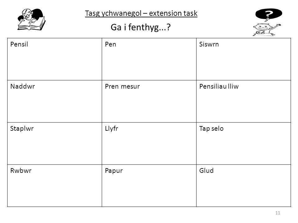 Ga i fenthyg... Tasg ychwanegol – extension task Pensil Pen Siswrn
