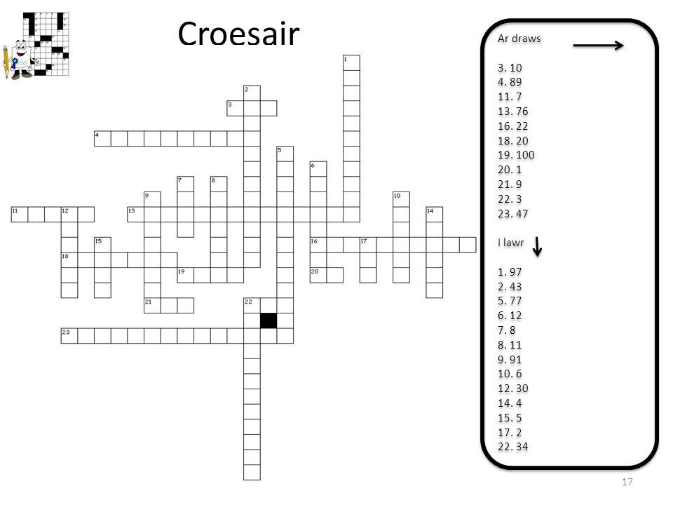 Croesair Ar draws. 3. 10. 4. 89. 11. 7. 13. 76. 16. 22. 18. 20. 19. 100. 20. 1. 21. 9. 22. 3.