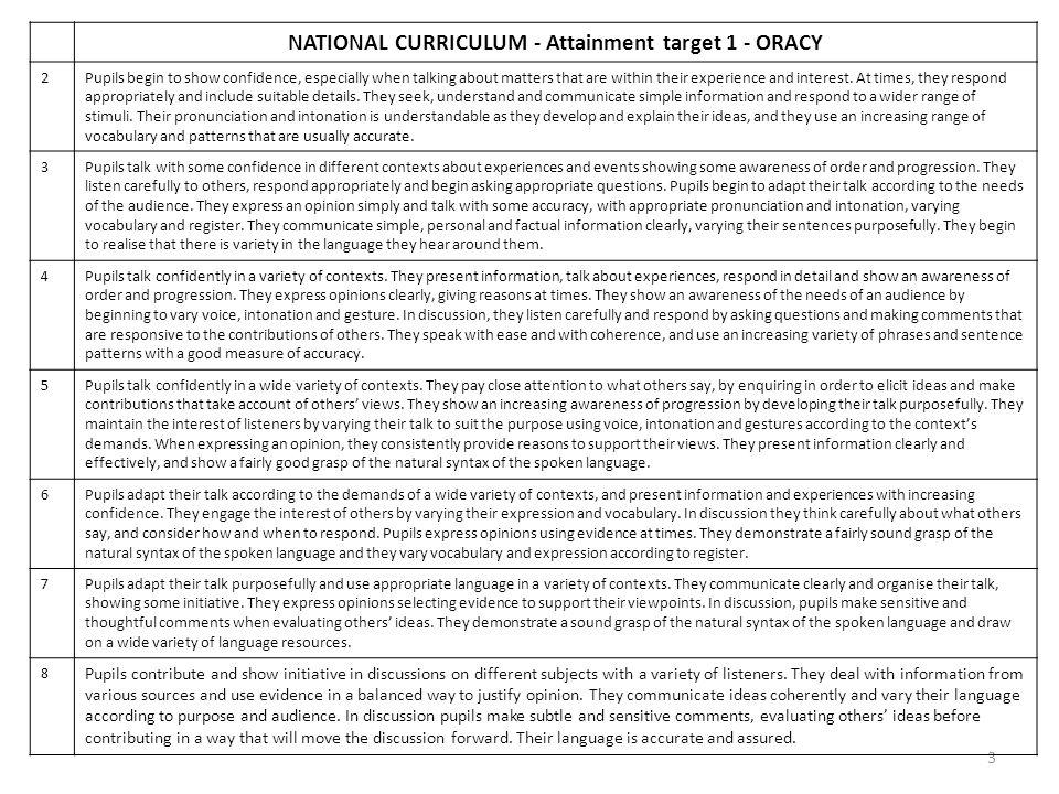 NATIONAL CURRICULUM - Attainment target 1 - ORACY